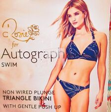 BNWT AUTOGRAPH M & S BIKINI SIZE 16 BERRY & GOLD PREFORMED CUPS HIPSTER BOTTOM