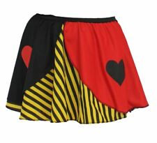 Ladies Queen of Hearts Yellow Striped Skater Skirt Wunderland Fancy Dress