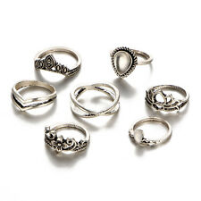 7Pcs Set Mid Midi Finger Rings Women Girl Gold Sliver Stackable Jewelry Gift