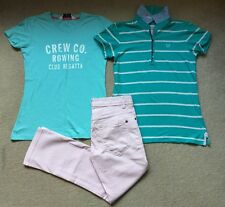 Crew Clothing Turquoise Polo Shirt T-Shirt Baby Pink Ballater Crop Jeans UK 8