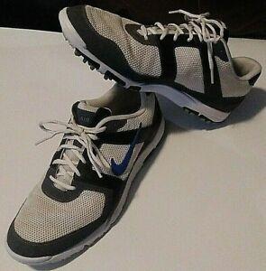 NIKE Air Men's Sz 11 White/Blue/Grey Lightweight Oxford Golf Shoe 418541-141