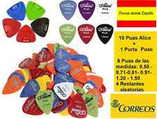 10 Puas de Guitarra Alice + 1 Porta Puas :0.58 0.71 0.81 0.96 1.20 1.50 mm