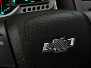 CARBON FIBER Chevy Bowtie Steering Wheel Emblem Decal Sticker Overlay Insert