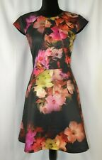Ted Baker Cap Sleeve Dress Size 1 Floral Colorful Casual Fun 4 US Back Zip Flair