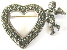 Sterling Silver Marcasite MT Signed Heart & Cherub Pin