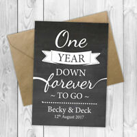 Personalised 1st first wedding anniversary card / paper other anniversary PC007