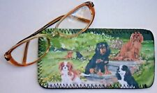 CAVALIER KING CHARLES SPANIELS  GLASS CASE POUCH SANDRA COEN ARTIST OIL PAINTING