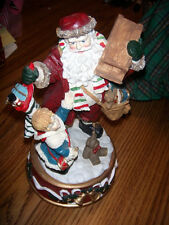 "Schmid Musical Box, Santa giving a Presents W/Little Drummer Boy 8-1/2 By 5"""