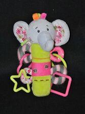 Peluche doudou éléphant d'activités BABY'NAT gris vert rose pouet 19 cm NEUF