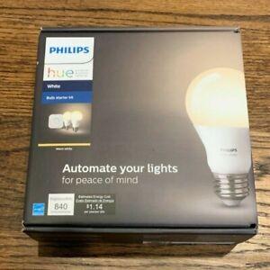New Philips - Hue Bluetooth White A19 60W LED Bulbs 2 Pack Starter Kit - White