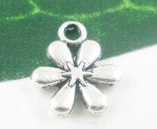 50 Pendentifs Charms Fleur Pour Collier Bracelet Bijoux Accessoire 13x11mm