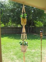 "Macrame Plant Hanger Flesh Double 66"" Handmade w/ Walnut Wood Beads,Great Gift"