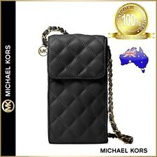 Genuine Michael Kors Sloan Quilted Phone Chain Crossbody Bag Leather -Black/Gold