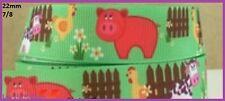 1 metre, PIG, Chook, Cow, 22mm, Ribbon, 7/8, Grosgrain, Hair, Cake Decor, Diy