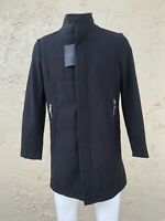NWT ZARA MAN Black Coat detachable interior and front pockets SIZE L $199