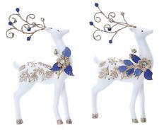2 x Gisela Graham White | Blue | Gold Hanging Reindeer Christmas Tree Decoration