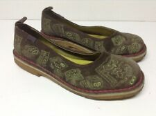 "Womens Brown Suede/Green Stitch CAMPER TWINS ""OWLS"" Crepe Soles Flats Sz 9 EU 39"