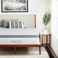 2, 3, 4 Inch LUCID Bamboo Charcoal Memory Foam Mattress Topper - Twin Full Queen