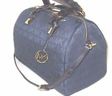 Michael Kors Navy Blue Signature LARGE Satchel Grayson WITH STRAP NWT $348