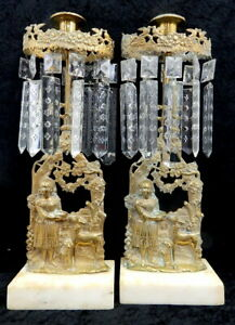Pair Antique Victorian Brass Girandole Mantle Candle Holders Prisms Girl w Deer