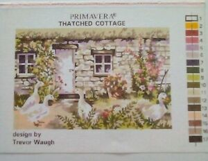PRIMAVERA THATCHED STONE COUNTRY COTTAGE DUCKS CANVAS ONLY NEEDLEPOINT TAPESTRY