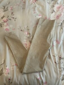 SOUTH BEACH NUDE BEIGE WORKOUT RIBBED LEGGINGS SIZE M/L