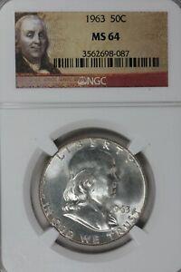 1963    50C NGC   MS64   .50, Benjamin Half, Bell Half Dollar