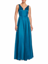 NWT Halston Heritage Seamed Satin Fit-And-Flare Gown Size 0 $595.00
