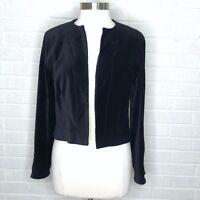 New Chicos Womens Medium M Size 1 Onyx Shine Jilene Jacket Black Blazer Velvet