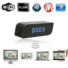 HD 720P Wireless Wifi IP Spy Hidden Camera Motion Security Alarm Clock DV Cam EU