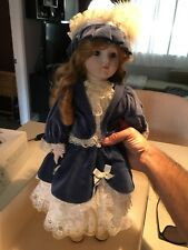 Porcelain Doll By Bradley Victorian Attire 20� Wind Up Plays Music Beautiful