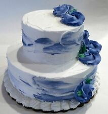 Two Tier Blue & White Fake Cake Blue Flowers with Edge Display Prop Decoration