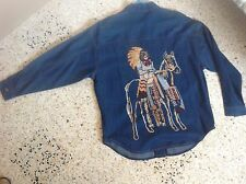 TOGETHER - SURCHEMISE COUNTRY WESTERN - JEANS MOTIF INDIEN BRODE DOS 38/40