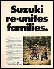 1972 Suzuki Motorcycles Vintage Print Ad Japanese Bikes Father Son Riding 1970s