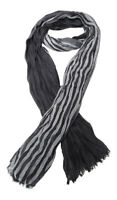 Chèche, foulard, écharpe pour homme ou mixte, gris et noir, 180 x 60 cm. D2.