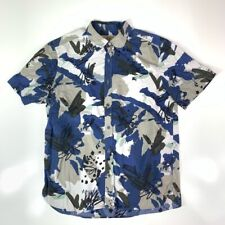 Burberry London Mens Button Front Shirt Blue Camouflage Short Sleeve Cotton L