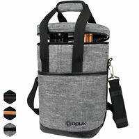 Insulated Wine Carrier Tote Bag 4 Bottle Padded Carry Cooler Bag with Dividers