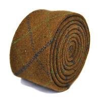 Frederick Thomas Designer Tweed Wool Mens Tie - Brown, Green, Blue - Check Plaid
