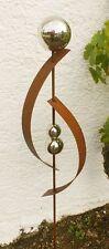 Gartendeko Roststab Lieblingstab  Eisen Skulptur 120 cm  mit 3 Edelstahlkugeln