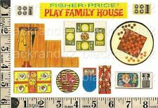 VINTAGE FISHER PRICE 952 HOUSE STAIRS TABLES TV BBQ  REPLACEMENT LITHOS STICKERS