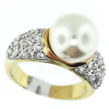 Ladies Simulated White Pearl Gold Plated Two Tone Ring Size 6