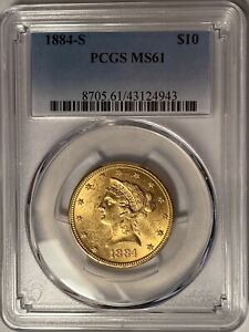 1884-S $10 LIBERTY GOLD EAGLE PCGS MS61 — JUST 124,250 MINTED!!