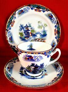 ROYAL ALBERT Trio CROWN CHINA Tea Set ORIENTAL Rare 1925 Chinoiserie VINTAGE