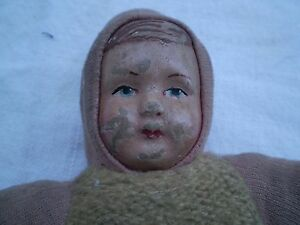 ANTIQUE PRIMITIVE OLD DOLL FROM FABRIC PAPER MACHE FACE