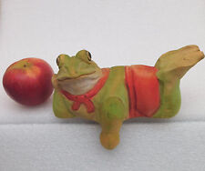 WOODEN FROG Ornamento Scaffale SITTER Painted Wood animale FIGURINA Decorativo