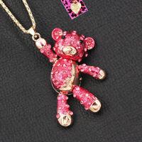 Betsey Johnson Enamel Crystal Cute Little Bear Pendant Chain Animal Necklace