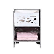 Nachtschrank grau weiß mit Cut-Outs Nachtkommode Nachttisch Beistelltisch Holz