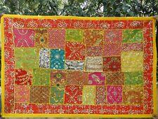 Indischer Wandbehang Gelb Wandteppich Tischläufer Patchwork Boho Indien Hippy