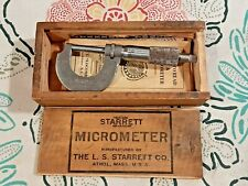 Vintage Starrett 1 Micrometer 230 Withoriginal Wood Box Wrench Amp Manuals