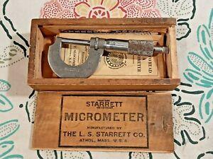"Vintage STARRETT 1"" Micrometer 230 w/Original Wood Box, Wrench & Manuals"